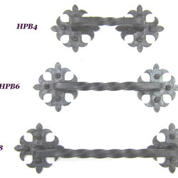 HPB4 spanish revival wrought iron fleur de lis drawer pull handle - HPB4 Spanish  drawer pull.  These drawer pulls have a twisted bar, finely chiseled and hammered back plates.  These come with proper mounting screws.  Shown in natural wax.  Other finishes offered.  Made in the USA.