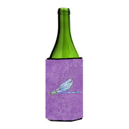 Caroline's Treasures - Dragonfly on Purple Wine Bottle Koozie Hugger - Dragonfly on Purple Wine Bottle Koozie Hugger Fits 750 ml. wine or other beverage bottles. Fits 24 oz. cans or pint bottles. Great collapsible koozie for large cans of beer, Energy Drinks or large Iced Tea beverages. Great to keep track of your beverage and add a bit of flair to a gathering. Wash the hugger in your washing machine. Design will not come off.