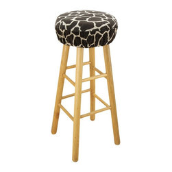 Chooty & Co. - Giraffe Simply Soft 16 in. Round Foam Bar Stool Cushion Multicolor - BS16K2027 - Shop for Cushions and Pads from Hayneedle.com! Take your bar stool for a wild ride with this Giraffe Simply Soft 16 in. Round Foam Bar Stool Cushion. A fun removable cushioned cover this one has a high-density foam insert and polyester and cotton blend cover with giraffe pattern. It's finished with elastic for a tailored look and secure fit.About Chooty & Co.A lifelong dream of running a textile manufacturing business came to life in 2009 for Connie Garrett of Chooty & Co. This achievement was kicked off in September of '09 with the purchase of Blanket Barons well known for their imported soft as mink baby blankets and equally alluring adult coverlets. Chooty's busy manufacturing facility located in Council Bluffs Iowa utilizes a talented team to offer the blankets in many new fashion-forward patterns and solids. They've also added hundreds of Made in the USA textile products including accent pillows table linens shower curtains duvet sets window curtains and pet beds. Chooty & Co. operates on one simple principle: What is best for our customer is also best for our company.
