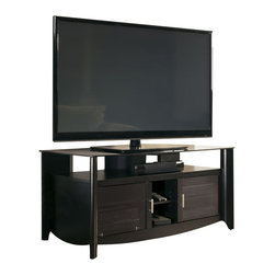 "Bush - Bush Aero TV Stand with Glass Top Shelf in Classic Black Finish - Bush - TV Stands - MY1696003 - As sleek as the flat-screen TVs it displays the Aero Collection TV stand is a modern statement. The TV stand accommodates flat-panel TVs up to 60"""" or 154 lbs. It features a gray tinted top glass shelf plus room for audio components or a sound bar. Wire management ties and pass-through slots help keep cables hidden yet accessible when they need to be. Compatible with the StabiliBar TV Safety Brace. Matches with other Aero Collection pieces including the Aero End Tables Coffee Table and Desk."