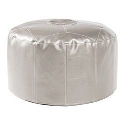Howard Elliott - Shimmer Mercury Foot Pouf Ottoman - Our Pouf Foot Ottomans are a great add on to any decor. They work as a foot rest or extra seating. They are filled with polyester fiber and recycled EPS filler. Cover is 100% polyurethane metallic faux leather and removable for easy care. This Shimmer Mercury piece is 100% polyurethane finished in shimmering mercury faux leather. 22 in. Diameter x 12 in. H