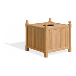 Oxford Garden - Wood Trash Receptacle - The Trash Receptacle provides an attractive solution for trash, while complimenting any furniture arrangement. It comes complete with a sturdy 25-gallon removable liner. Add the optional hinged lid to create a finished look. Handcrafted of shorea hard wood using mortise and tenon joinery, it will stand the test of time.