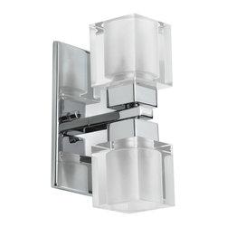 Dainolite - Dainolite 83889A-PC 2 Light Wall Sconce Pc Finish Cube Crystal - Dainolite 83889A-PC 2 Light Wall Sconce PC Finish Cube Crystal
