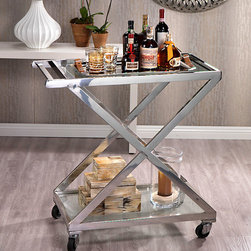 Polished Steel and Glass Bar Trolley - With its sleek lines and minimalist design, the Polished Steel and Glass Bar Trolley calls to mind soirees attended by literati and the beau monde. Glass trays rest within a polished metal frame that allows for stylish containment of contents and ease of use. Perfectly proportioned, the cart is designed for effortless use in both large and smaller-scale entertaining areas.