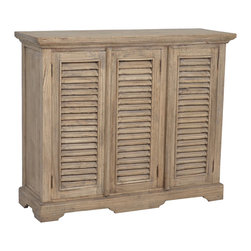 Jeffan - Promenade 3 Door Shutter Sideboard - The Promenade Sideboard is always hand crafted from all natural,solid teak wood. This has a rustic finish and vintage design,giving this piece more of an antique look.