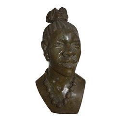 Michal and Company - African Woman Bust carved in Serpentine Stone - This captivating bust of an African Woman is hand carved in natural serpentine stone, using only chisels, files and sandpaper. The workmanship from Zimbabwe is quite extraordinary. One-of-a-Kind.