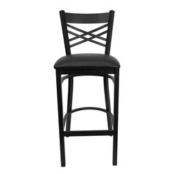 "Flash Furniture - Hercules Series Black ""X"" Back Metal Restaurant Bar Stool - Black Vinyl Seat - This heavy duty commercial metal bar stool is ideal for Restaurants, Hotels, Bars, Pool Halls, Lounges, and in the Home. The lightweight design of the stool makes it easy to move around. The tubular foot rest not only supports your feet, but acts as an additional reinforcement that helps secure the legs. This stool will keep you comfortable with the easy to clean vinyl upholstered seat. You will not regret the purchase of this bar stool that is sure to complement any environment to fill the void in your decor."