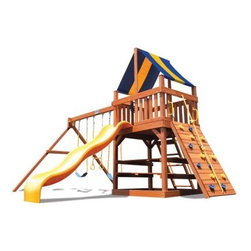 Superior Play Systems Original Fort Wooden Swing Set - Every cowboy needs a fort and every princess needs her castle, so just think of the Superior Play Systems Original Fort Wooden Swing Set as the home for their imagination. This rugged and versatile playset is crafted from thick, extra large timbers of premium cedar that's naturally resistant to rot and insects. Corrosion-resistant hardware throughout is made to withstand years in the outdoors. Two swings and a trapeze bar hang from vinyl-coated chains that won't pinch little fingers, and there's a rock-climbing wall that makes a safe and easy way to get in and out. A roof of bright canvas protects them from the sun while the smooth, plastic slide lets them get down in style. All this is centered around an extra-large deck and integrated picnic table that will make it the central feature in any backyard. Even the swing beam is a little taller than other sets for plenty of swinging room.About Kidwise ProductsThis item is made by Kidwise Outdoors, a company whose focus is safe, fun excitement for kids. Kidwise strives to promote safe play for kids of all ages through outside activities. Their line of products includes swing sets, trampolines, inflatable bouncers, bikes, sport goals and many other items to choose from. Kidwise guarantees all of their products against defects. Like Hayneedle, their goal is 100% satisfaction from customers. Their product lines focus on kid-friendly items that are fun to play with and stimulate balance and a healthy lifestyle for kids.