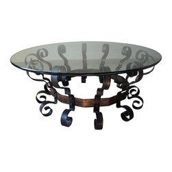 Scrolled Metal & Glass Coffee Table - $825 on Chairish.com -