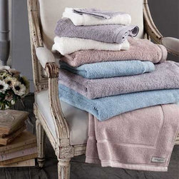 Nina Ricci Ecume de Jours Bath Linens - Nina Ricci's Ecume de Jours Bath Linens are 100% Egyptian cotton bath towels, bath sheets, bath rugs, and bath accessories. This soft terry collection comes in powdered colors that bring a soft, yet definite touch of elegance to your bathroom.