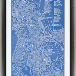 Paragon Decor - Map of Boston Artwork - Map is matted in white and framed in dark wood finish molding with antique silver edge.