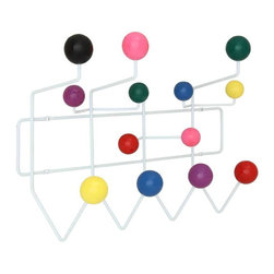 Modway - Gumball Coat Rack in MultiColored - Bright and colorful, the Gumball Coat Rack picks up where the Ball Clock leaves off. Perfect from those energetic rooms filled with exuberance and energy, each coated wooden ball is well positioned for fun. With its array of assorted confectioneries, hang it all from the bright yellow raincoat, to the child's toy umbrella.