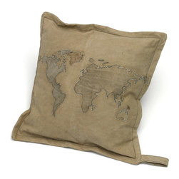 Go Home - Square World Map Pillow - Amazing square World Map Pillow crafted from vintage tent canvas and has natural colors finish which give amazing look.