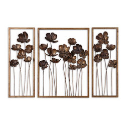 """Uttermost - Uttermost Metal Tulips Wall Art Set of 3 12785 - This set of decorative wall art is made of hand forged metal finished in antiqued gold leaf with a charcoal gray wash. Small size: 10""""W x 27""""H x 4""""D, Large size: 20""""W x 27""""H x 4""""D."""