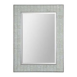 "Uttermost - Arroscia Mosaic Green Ivory Rectangular Mirror - Pale Green Ivory Glass Tiles Create The Inner Frame While The Inner And Outer Frame Edges Are Trimmed In Silver. Mirror Is Beveled. May Be Hung Horizontal Or Vertical. Frame Dimensions: 29.5""W X 39.125""H X 1""D; Mirror Dimensions: 21.375""W X 31""H; Finish: Pale Green Ivory; Material: Mirror,MDF,MOSAIC; Beveled: Yes; Shape: Rectangular; Weight: 14; Included: Brackets, Ready to Hang Vertically or Horizontally"