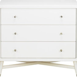Mid-Century Dresser, French White - You can't go wrong with classic white in a unisex nursery room. This clean-lined, midcentury-style dresser in French white is a winner.