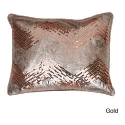 Thro - Crackle Chevron Sequin Pillow - Enhance your home decor with the crackle chevron pillow with feather fill. Featuring sequin details in your choice of gold or silver finish, this fashionable pillow has a removable cover and hidden zipper.