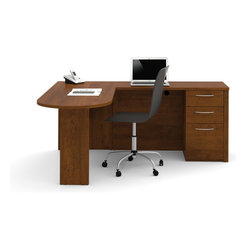Bestar - Bestar Embassy Tuscany Brown 66 x 74 L-Shaped Workstation Desk - The work surface is made of a durable 1 inch commercial grade work surface with melamine finish that resist scratches stains and wears. It features an impact resistant 0.25 cm PVC edge a modesty panel and classic moldings. Grommets are available on the desk for efficient wire management. The peninsula table and return shell meets or exceeds ANSI/BIFMA performance standards. The pedestal offers two utility drawers and one file drawer with letter/legal filing system. One lock secures bottom two drawers. The drawers are on ball-bearing slides for a smooth and quiet operation. The station is fully reversible. Embassy offers numerous configuration possibilities for various uses. Offering smaller desks this collection is ideal for every type of workplace including the home office.Nowadays performance productivity and quality of life are fundamental to achieving our personal and professional goals. Bestar's home and office furniture design is based upon these criteria as well as on today's reality. On average we spend about 40 hours a week at work (home or office) which represents a large portion of our time. Various factors have a direct impact on our well-being at work: an important concern in the current employment environment continually changing and at an ever-increasing pace. Therefore organizing your space is certainly a parameter to consider. Features include Strong and large work surface Safe and high-quality furniture Plenty of room to organize your documents. Specifications Finish/color: Tuscany Brown.