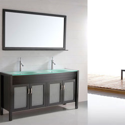 "60"" Solid Wood Double-sink Vanity Tempered Glass Top - Espresso CB6011 - Features"