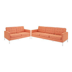 """LexMod - Florence Style Loft Loveseat and Sofa Set of 2 in Orange Tweed - Loft Loveseat and Sofa Set of 2 in Orange Tweed - The mid-20th century was a time when hopes were at their highest. Technological developments were bustling forward, and the new world was just barely visible in the distance. But this time also presented a dilemma of sorts. The test of this forthcoming era was to be whether industry would foster comfort or stifle it. What makes the Loft series so complete? At first glance, it displays a pleasant linear design with an external tubular stainless steel frame. The back and seat are tufted and buttoned to enhance the overall richness of the piece. But can these aspects be said to define the totality of a classic? The answer then must be something profound. A thought that serves as representative of that era, while matching the sentiments of our present age. Our suggestion is that the Loft series conveys the potential of progress. From amidst the steel base, a comfortable seating experience is attained. From out of the exponential surge of technological growth, comes peace and solace. Perhaps this is why Loft is the sofa series of choice for so many Fortune 500 companies. Aside from its iconic feel, the set is symbolic of a time when technological innovation could do no wrong. When faster was seen only as something positive. The Loft series is the preferred choice for reception areas, living rooms, hotels, resorts, restaurants and other lounge spaces. Set Includes: One - Loft Loveseat One - Loft Sofa Rich Wool Upholstery, Tufted Seat and Back with Buttons, Tubular Stainless Steel Frame, Foot caps to prevent scratching Overall Loveseat Dimensions: 31""""L x 63""""W x 31""""H Overall Sofa Dimensions: 30.5""""L x 90.5""""W x 32""""H Seat Dimensions: 21""""L x 16""""H Armrest Height: 23""""H - Mid Century Modern Furniture."""
