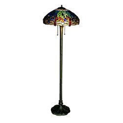 Warehouse of Tiffany - Tiffany-style Dragonfly Floor Lamp - Handcrafted using the same techniques that were developed by Louis Comfort Tiffany in the early 1900s, this beautiful Tiffany-style piece contains hand-cut pieces of stained glass, each wrapped in fine copper foil.