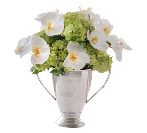 Jane Seymour Botanicals - Orchid and Snowball Urn - Most floral arrangements are here today, gone tomorrow (or maybe several days from now). But with this delightful permanent display of white orchids and lime green snowballs in a metal-loving cup urn, you can have a fantastic floral arrangement that lasts and lasts.