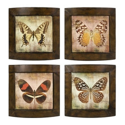 """IMAX CORPORATION - Monarch Plaques - Set of 4 - Set of four varying butterfly plaques in subtle hues. Comes in various sizes measuring around 8""""L x 4.75""""W x 5""""H each. Shop home furnishings, decor, and accessories from Posh Urban Furnishings. Beautiful, stylish furniture and decor that will brighten your home instantly. Shop modern, traditional, vintage, and world designs."""