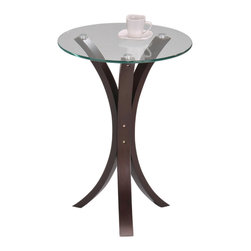 None - Round Glass Walnut Finish Chair Side End Table - Place this walnut end table in your room for a touch of beauty and an elegant place to rest items. The three bent walnut legs are topped by a round glass surface that makes the area look contemporary and classy. This table works well in any area.