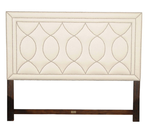 Ambella Home - Manhattan Headboard - King - A headboard is the finishing touch for your bed. It can add glamour and sophistication to your room. This king headboard has a leather-like upholstery punctuated with nickel nailheads for a cool, uptown vibe.