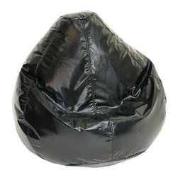 Elite Products - Wetlook Large Bean Bag w Zipper - This jet black wetlook kid's large bean bag is recommended for ages 4 to 10 years old.  With a light, double stitched vinyl cover, this bean bag provides easy storage and accessibility. Long lasting and durable. Double stitched with double overlap folded seam. Double zippered bottom for added security. Childproof safety lock zippers (pulls have been removed). Light, convenient to move and store. Easy to clean. Recommended seating age: 4 to 10 years. Warranty: One year limited. Made from PVC vinyl and polystyrene bead. Made in USA. No assembly required. 32 in. L x 30 in. W x 25 in. H (6 lbs.)