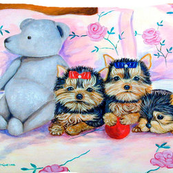 Caroline's Treasures - Yorkie Puppies Three In A Row Fabric Standard Pillowcase Moisture Wicking Materi - Standard White on back with artwork on the front of the pillowcase, 20.5 in w x 30 in. Nice jersy knit Moisture wicking material that wicks the moisture away from the head like a sports fabric (similar to Nike or Under Armour), breathable performance fabric makes for a nice sleeping experience and shows quality.  Wash cold and dry medium.  Fabric even gets softer as you wash it.  No ironing required.