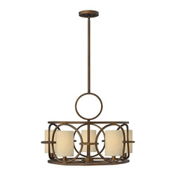 Fredrick Ramond - Fredrick Ramond Pandora Modern/Contemporary Chandelier - This striking chandelier provides intimate ambient lighting for a homely, inviting room setting. The open metal frame is painted in a rich brushed cinnamon finish. The cylindrical oatmeal linen shades complement the sophisticated frame. The Fredrick Ramond Pandora contemporary chandelier is surely a fabulous decor accent to your stylish home.