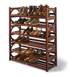 Frontgate - Heritage Stacking Shoe Rack - Double-shelf shoe rack (three sets shown in image). Holds approximately 8 pairs of shoes. Up to four sets of racks can be stacked together. Classic mahogany finish. Rubber feet won't mar floors. Crafted from solid mapa wood and veneers with a rich mahogany finish, our stackable Heritage Shoe Rack is especially designed to help you de-clutter, organize, and easily access your wardrobe. . . . . . Clean with a dry cloth. Each shelf has a weight capacity of 20 lbs..