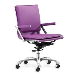 Zuo Modern - Zuo Lider Plus Office Chair in Purple - Office Chair in Purple belongs to Lider Plus Collection by Zuo Modern With its ergonomic shape and padded back and seat cushions, the Lider Plus office chair works in comfort. It has a chromed steel frame with soft neoprene arm pads, a locking tilt adjustment, and rolling base. Office Chair (1)