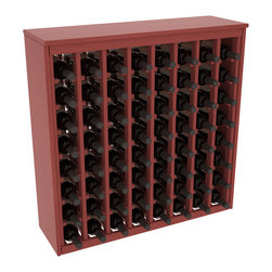 Wine Racks America - 64 Bottle Deluxe Wine Rack in Ponderosa Pine, Cherry Stain + Satin Finish - Styled to appear as wine rack furniture, this wooden wine rack will match existing decor while storing 64 bottles of wine. Designed to look like a freestanding wine cabinet, the solid top and sides promote the cool and dark storage area necessary for aging wine properly. Your satisfaction and our racks are guaranteed.