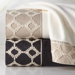 "Horchow - ""Keswick"" Towels - Sheared velour towels adorned with an eye-catching soutache border come in your choice of ivory or black. Select color when ordering. Towels are made of cotton. Decorative borders are polyester with cotton ribbon detail. Machine wash. Bath towel, 3..."