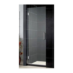 Dreamline - Unidoor Frameless Shower Door (24 in. - Chrome) - Color: 24 in. - Chrome. Self-closing solid brass wall mounted hinges. Reversible glass door for left or right wall installations. ANSI certified. Made from 0.38 in. thick tempered glass and aluminum. 24 in. W x 72 in. H. 25 in. W x 72 in. H. 26 in. W x 72 in. H. 27 in. W x 72 in. H. 28 in. W x 72 in. H. 29 in. W x 72 in. H. 30 in. W x 72 in. H. Warranty. Installation Manual. Marketing Brochure. 24 in. Technical Drawing. 25 in. Technical Drawing. 26 in. Technical Drawing. 27 in. Technical Drawing. 28 in. Technical Drawing. 29 in. Technical Drawing. 30 in. Technical DrawingUnidoor is the only door you will ever need to complete an unforgettable design of your shower project. The smart design of the adjustable wall profile.