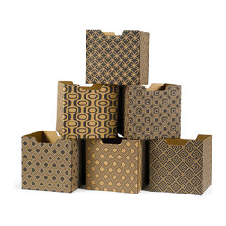 Quark Enterprises - Modern Print Combo Set Decorative Storage Boxes, 6-Pack - Our Modern Patterns Kids Storage Bins are the perfect addition to your twenty-first century child's room. What better way to instill a sense of modernity then to surround them with the latest and greatest in contemporary design.