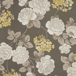 Grey White And Gold Floral Indoor Outdoor Upholstery Fabric By The Yard - This upholstery grade fabric can be used for all indoor and outdoor applications. It is Scotchgarded, and is mildew, fade, water, and bacteria resistant. This fabric is made in America!
