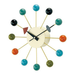 George Nelson - Lacquered Wood Ball Clock - A retro look color palette highlights this round wall clock, featuring a creamy ivory face surrounded by metal spokes tipped with multicolored wood balls. Perfect for home or office, the clock is battery operated with quartz movements and is a reproduction of a George Nelson classic. Uses 1 AA battery (not included). George Nelson classic design. High-grade quartz clockwork. Perfect for any interior space including the home or the office. Made of metal and zinc alloy and lacquered wood. 2.75 in. D x 13 in. W x 13 in. H (1.10 lbs.)With the diversity of materials used and their sculptural shapes, George Nelson clocks embody the joie de vivre of the 1950s. To this day, his wall clocks, including the George Nelson Ball Clock, remain a refreshing alternative to the usual timekeepers. The multicolored ball clock is a fun, contemporary touch to any interior.