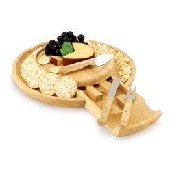 Home Decorators Collection - Colby Cheese Tray Set - Our Colby Cheese Tray Set's innovative design features a drawer that pulls out and houses three stainless steel cheese tools with rubberwood handles. The board is made of eco-friendly rubberwood and has a groove along its edge to collect brine or juice from soft cheeses, olives or cut fruits. Includes one cheese spreader/serrated knife, one cheese fork and one hard cheese knife. Wipe clean.
