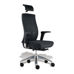 Jesper Office Furniture - Trina Office Chair -Black Mesh/Fabric - Features:
