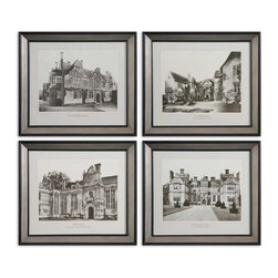 Uttermost - English Cottage Wall Art, Set of 4 - If you can't be in England, you can bring a bit of village life into your home. Stately mansions and elegant country homes are rendered as architectural prints and framed under glass with black satin inner and outer edges. The finishing touch is the silver leaf antiquing for the middle sections. Terribly, terribly refined!