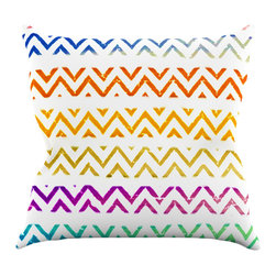"""Kess InHouse - Sreetama Ray """"Chevron Add"""" Warm Chevrons Throw Pillow (16"""" x 16"""") - Rest among the art you love. Transform your hang out room into a hip gallery, that's also comfortable. With this pillow you can create an environment that reflects your unique style. It's amazing what a throw pillow can do to complete a room. (Kess InHouse is not responsible for pillow fighting that may occur as the result of creative stimulation)."""