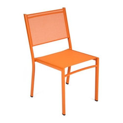 Fermob - Fermob | Costa Stacking Chair, Set of 4 - Design by Fermob. The Costa Stacking Chair, part of the Costa collection which includes several styles of chairs/lounges and tables, has a slim profile belied by its sturdiness. Perfect for grouping in conversational area or around a table, the Costa Stacking Chair is perfect for the backyard enthusiast. The Costa Stacking Chair has an Aluminum frame with Outdoor Technical Fabric (OTF) in the same color. Choose from four colors in OTF Mottled Weave or six colors in OTF Plain Weave. Sold as a set of 4. Suitable for Contract use.