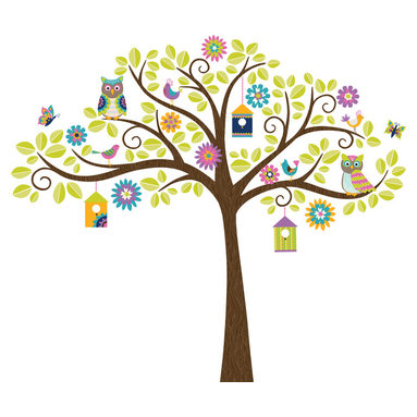 """WallPops - Hoot and Hangout Wall Art Decal Kit - This tree decal is an enchanted scene of woodland whimsy! The tree is a friendly hang out for birds and butterflies, with flowers and colorful birdhouses hanging from the branches. Create a happy scene in your nursery with this tree decal kit, bursting with delightful colors. This WallPop Comes on 2 17.25"""" x 39"""" Sheets and contains 142 Pieces Total. WallPops are repositionable and always removable."""