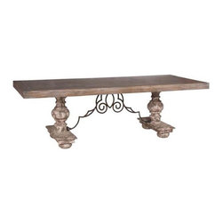 Old World Style Dining Table - Trestle Base - Design #3 - This is a solid wood table - NO veneers! The trestle is also solid wood.