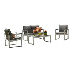Kontiki - Kontiki Conversation Sets - Composite Chat Set, Gray, Slat Back - The Positano Conversation Sets offer superior outdoor performance in a selection of attractive styles. Offered in either a wood-look slat backing for optimal airflow and a traditional look, or a textaline mesh back that conforms to your body shape for maximum comfort, there's sure to be a style that matches your taste.    Made from low maintenance, long lasting materials, these sets maintain their shape and style in the face of sun and rain, and are resistant to decay and pests. To keep your set looking its best from season to season cover when not in use, and clean the set semi-regularly as debris accumulates, by simply wiping down the units with household soap and water.     Perfect for pool side drinks on hot afternoons, or watching the sunset after dinner from your garden, the Kontiki Positano Conversation Sets will extend your social engagements well into the evening. [1.0 set/set] - Positano I 4 Piece LoveSeat with Aluminum Frame and Slat Backing
