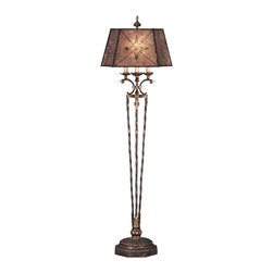 Fine Art Lamps - Villa 1919 Floor Lamp, 166120ST - This lamp will floor you with its old-world elegance and deep, dramatic patina. About 69 inches high, its body features an intricate design in a rich, gilded umber finish. And the shade made of umber mica sports hand-painted flowers and diamonds sure to dazzle.