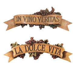 "EttansPalace - Italian La Dolce Vita and Vino Veritas Kitchen Grapes Wall Sculpture Decor - Italian La Dolce Vita The Good life) and Vino Veritas"" (In Wine There Is Truth) Kitchen Grapes Wall Sculpture decor - Set of 2 One of the most recognized adages of all time; This ""attitude toward life"" is artistically sculpted in three dimensions and adorned with lush grapevines. Cast in quality designer resin and hand-painted in rich colors, it is ready to take its place on the wall of your wine cellar or wherever friends gather to share tales. In Vino Veritas: 23""W x 3""D x 8""H. 1 lb. La Dolce Vita: 22""W x 4""D x 8""H. 2 lbs."